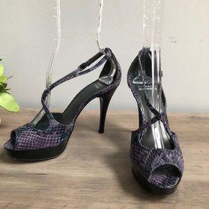 Stuart Weitzman Snakeskin Embossed Platform Heels